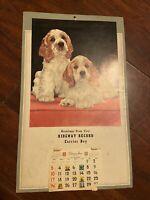 Vintage 1961 Spaniel Dog Puppy Wall Calendar