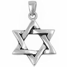 "Solid Star of David .925 Sterling Silver Pendant 1"" long"