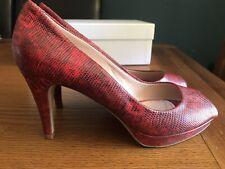 Hugo Boss ladies red leather high heels slip on Peep Toe pumps shoes 3 1/2 36