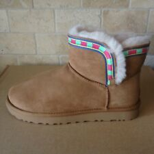 UGG ROSAMARIA EMBROIDERY CHESTNUT SUEDE MINI BOOTS SIZE US 10 WOMENS NIB