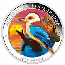 AUSTRALIA 2019 $1 KOOKABURRA 1 Oz SILBER COLOR FARBE AUSGABE NUR 100 BOX COA v1