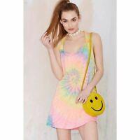 UNIF Size S Rae Rainbow  Tie Dye Soft Cotton Mini Dress