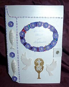 XL Glückwunschkarte Grußkarte zur Konfirmation als Bibel Lila weiß Töne  Geschen