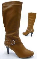 Wadenhohe Damen-Stiefel aus Kunstleder mit 30-39 Größe