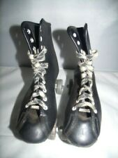 Vtg Roller Derby Street King Shoe Roller Skates Metal Wheels Black Sz 4