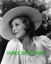 LORETTA YOUNG 8X10 Lab Photo B&W 1930s Elegant Big Hat, Goregous Portrait