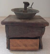 ANTIQUE Wood Cast Iron &  Pewter manual Crank coffee grinder