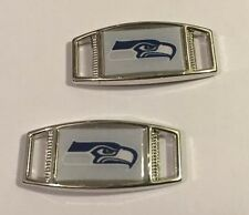PAIR OF NFL SEATTLE SEAHAWKS GRAY RECTANGLE SHOELACE PARACORD BRACELET CHARMS
