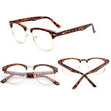 Vintage Retro Half Frame Clear Lens Glasses Nerd Geek Eyewear Eyeglasses New