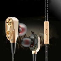 Sports Dual Driver Headphone Headset HIFI Stereo Bass Earphone Earbuds CHK