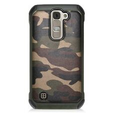 For LG Phoenix 2 / Escape 3 / Treasure - Hybrid Armor Case Cover Camo Green Army