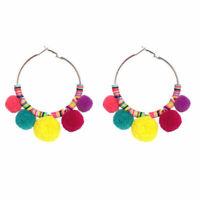 Women Ball Statement Bohemia Gold Geometric Big Dangle Drop Earrings Jewelry