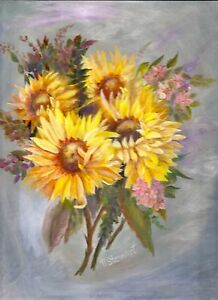 Sunflower Bouquet Art Painting Acrylic on Masonite Flowers 9x12 by Penny StewArt