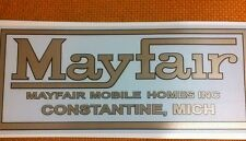 "Mayfair Vintage Travel Trailer decal mobile homes Constantine, Mich 11"" long"