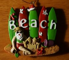 SANTA CLAUS SURFBOARD Christmas Ornament SURFER SURFING Holiday Beach Home Decor