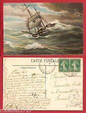 CPA sailing boat mer tempête deux mâts BRIG GOELETTE fuyant devant le temps 901R