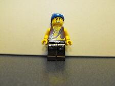 Lego Pirate Minifigure With Chest Hair & Blue Rag Head Wrap Dark Brown Legs