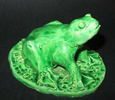 GRENOUILLE EN FAÏENCE EMAILLEE Signé CB MADE IN FRANCE STYLE VALLAURIS