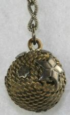 VICTORIAN ANTIQUE SHORT SILVER  ROPE BALL WATCH CHAIN - AS IS