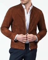 Men Slim Fit Formal Dress Jacket Bomber Rust Brown Real Goat Suede Leather Coat