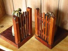Antique Vintage Fun Pair of Hand Carved Wooden Dog Terriers Book Ends