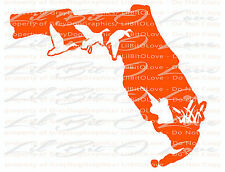 Florida State Silhouette with Ducks and Duck Hunter Vinyl Decal Sticker Hunting