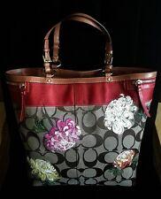 Coach Ltd Ed Khaki Sig C Multicolor Floral XL Flower Shopper Travel Tote Bag  WOW da29144075da9