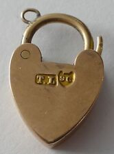 Vintage solid 9ct Rose Gold smaller size Padlock / Heart CLASP for bracelet 2.3g