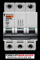 MERLIN GERIN 10 AMP TYPE B 10kA TRIPLE POLE MCB CIRCUIT BREAKER C60HB 25869