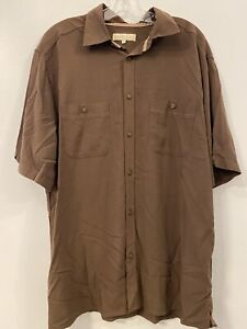 Territory Ahead Mens Pocketed Brown Button Down Short Sleeve New Large