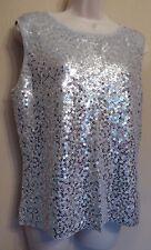 Windsmoor Medium UK12-14 EU40-42 US8-10 silver grey sleeveless sequin jumper