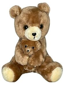 "VTG Dakin 1977 Momma hugging baby teddy bear brown 10"" plush stuffed animal"