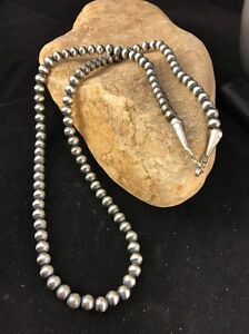 """Native American Navajo Pearls 4mm Sterling Silver Bead Necklace 21"""" Sale"""