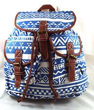Stoff Rucksack Ethno Muster Vintage modisch Blau 611-07