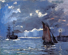 A Seascape Shipping by Moonlight by Claude Monet A1+ High Quality Art Print