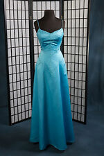 Prom Pageant Moonlight Spaghetti Straps Turquoise Sweetheart A-Line Satin Sz 6