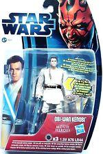 """La guerra de las Galaxias Obi Wan Kenobi Lightup Sable de Luz figura 4"""" (10 CM) + Tarjeta & Dados. nuevo Y En Caja"""