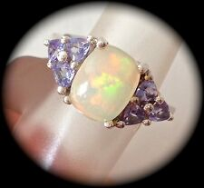 NATURAL OPAL & TANZANITE SILVER RING 'CERTIFIED 2.05CT!'  FAB COLOURS! - BNWT
