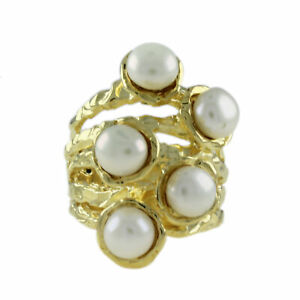HSN Gold Tone Round Cut Freshwater Pearl Fashion Ring Size 8