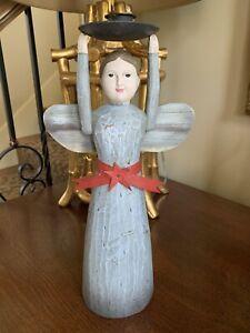 Vintage Santos Style Wooden Carved Doll Candle Holder