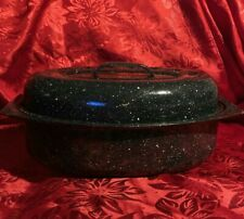 """Small Black Speckled Enamel Oval Roasting Pan with Lid 13"""" x 8"""""""