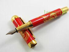 Chinese Ceramic Red Dragon Golden Trim M Nib Fountain Pen
