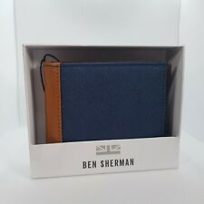 Mens Ben Sherman Navy and Tan leather wallet in box.