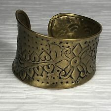 Vintage Graduated Brass Open Cuff Bracelet Stamped Floral Tribal Design India