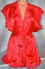 Victorias Secret  SEXY Satin & Lace Rhinestone Bling Valentines Red Robe NWT L