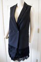 Banana Republic Collection Solid Black Wool 2 Button Fringe Drop Waist Dress 8