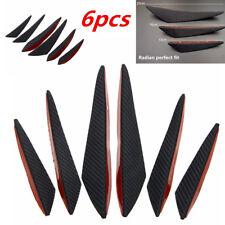 6Pcs Gloss Carbon Fiber Style ABS Car Front Bumper Body Fins Spoiler Moulding