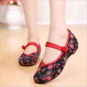 Retro Chinese Style Womens Embroidered Shoes Mary Jane Qipao Dress Shoes Flat