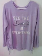 Fifth Sun Purple See the beauty in everything long sleeve top Size Large Juniors