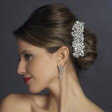 Silver Clear Swarovski Crystal & Rhinestone Bridal Prom Barrette Hair Accessory